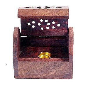 Small Wooden Box Incense Cone Burner