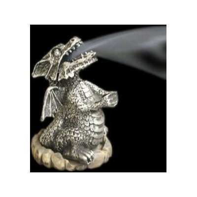 Silver Smoking Dragon Incense Cone Holder Burner