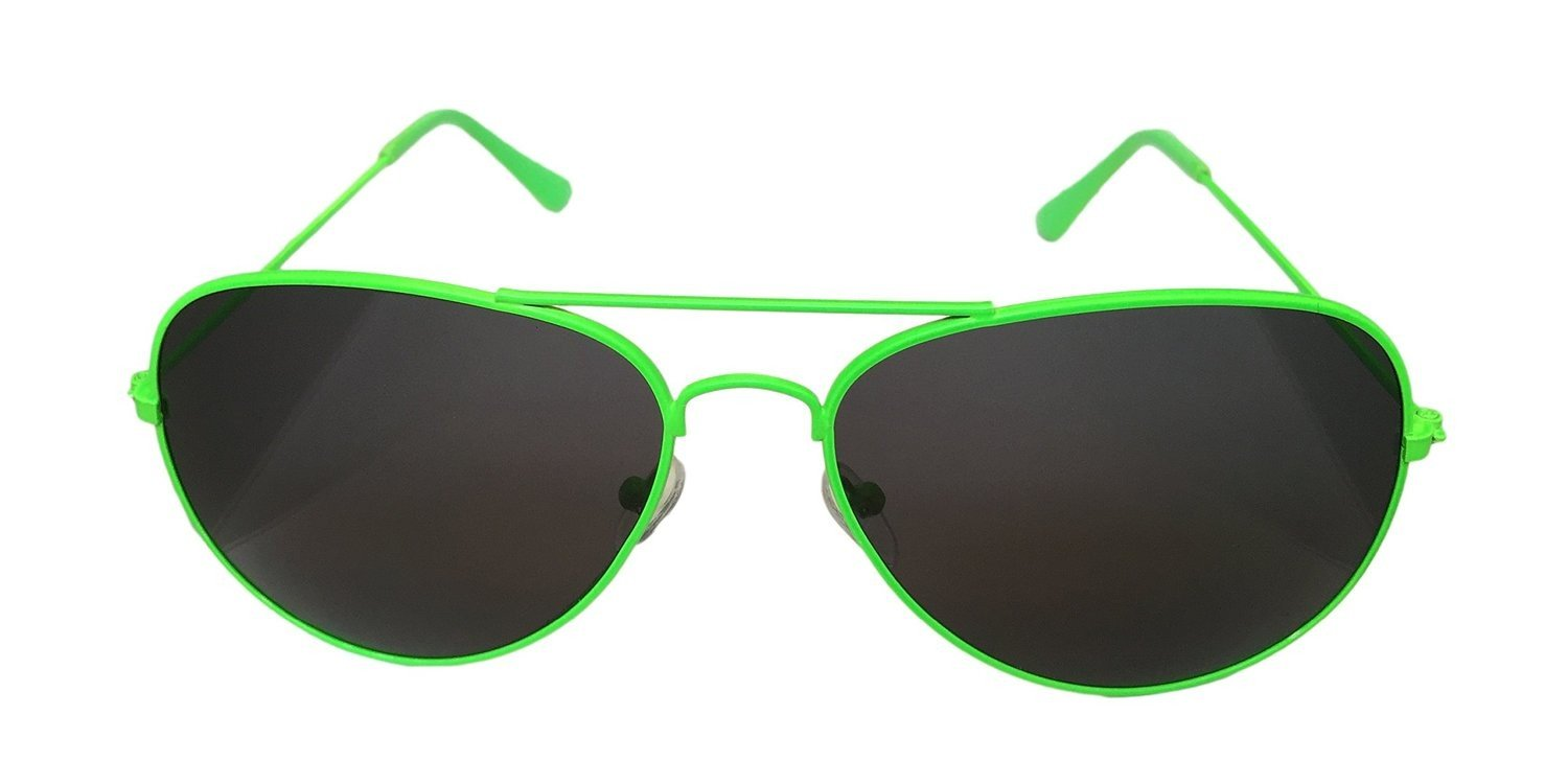 Neon Green Aviator Sunglasses One Size Fits All UV400 Protection