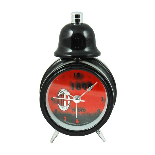 AC Milan Single Bell Alarm Clock - Black