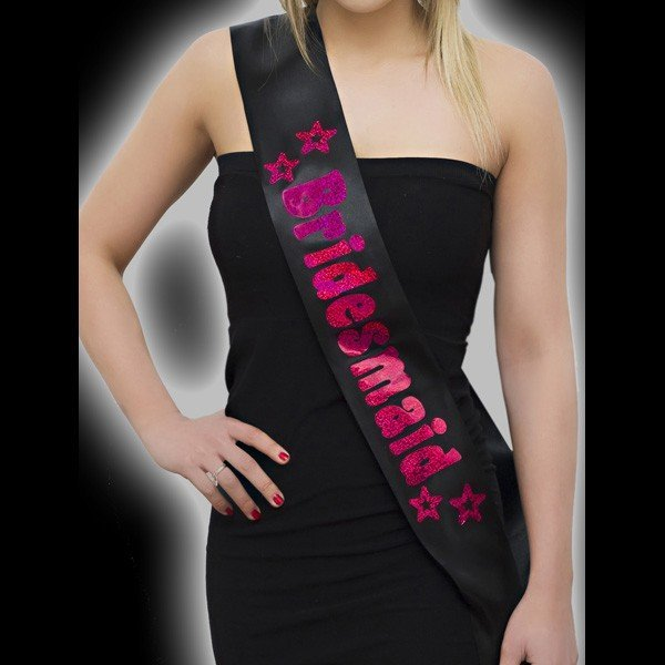 Alandra Bridesmaid Sash - Black & Pink