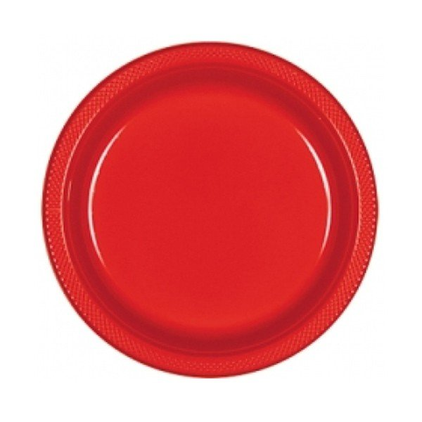 Amscan 17.7cm Plastic Plates - Apple Red