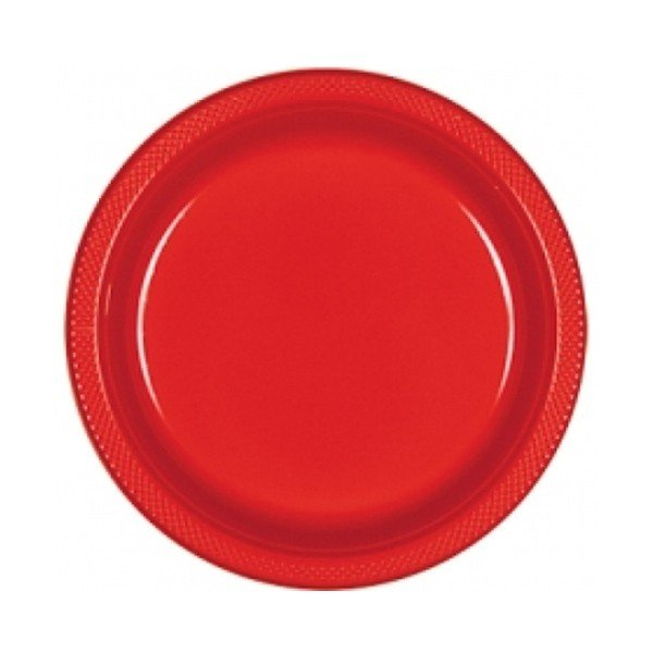 Amscan 22.8cm Plastic Plates - Apple Red