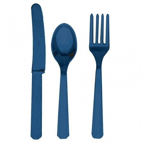 Amscan Cutlery Assortment - Navy Flag Blue