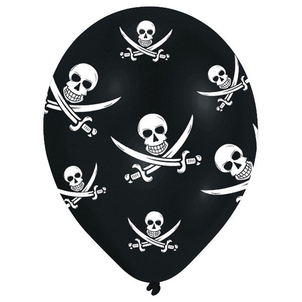 Amscan Jolly Roger Latex Balloons - Black