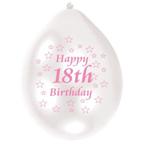 Amscan Minipax Balloon Pack - 18th Birthday Pink/White