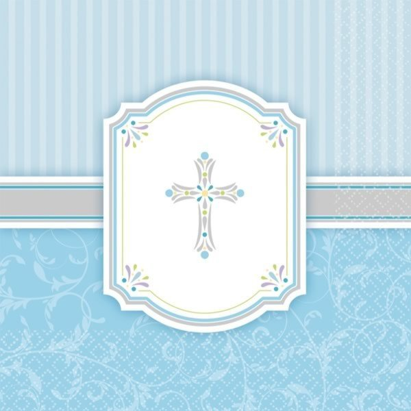 Amscan Napkins - Communion Blue