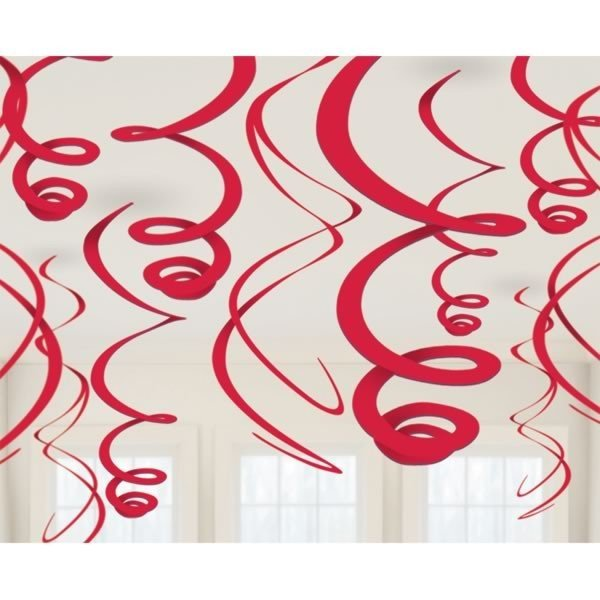 Amscan Plastic 12 Decorations Swirls - Apple Red