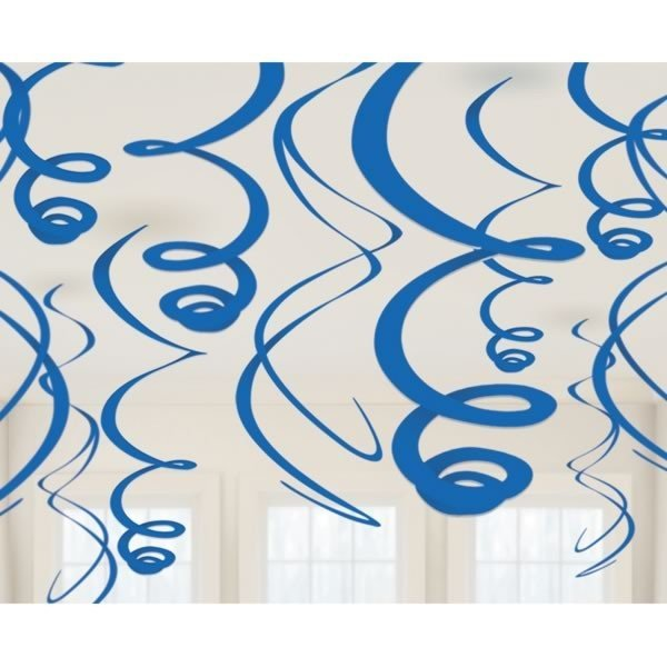 Amscan Plastic 12 Decorations Swirls - Bright Royal Blue