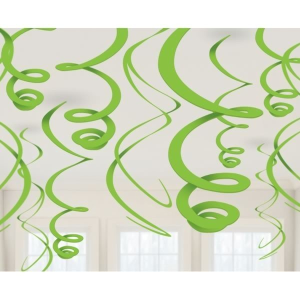 Amscan Plastic 12 Decorations Swirls - Kiwi Green