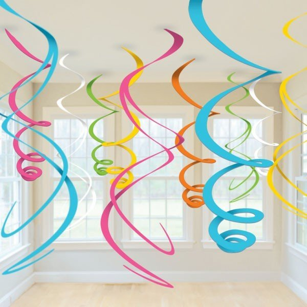 Amscan Plastic 12 Decorations Swirls - Multi