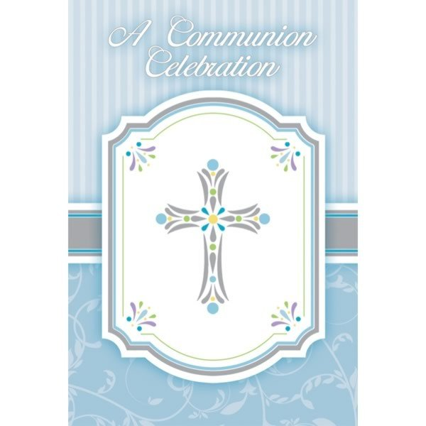 Amscan Postcard Invites - Communion Blessing Blue