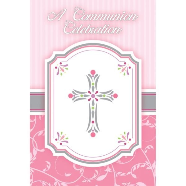 Amscan Postcard Invites - Communion Blessing Pink