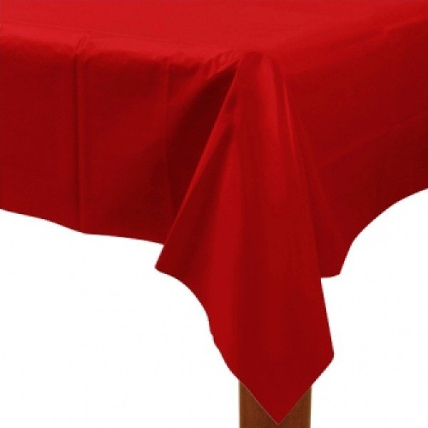 Amscan Rectangular Plastic Tablecover - Apple Red