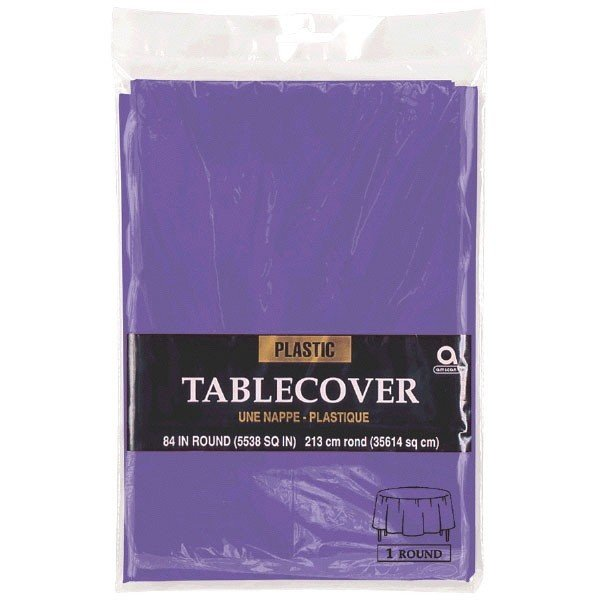 Amscan Round Plastic Tablecover - Purple