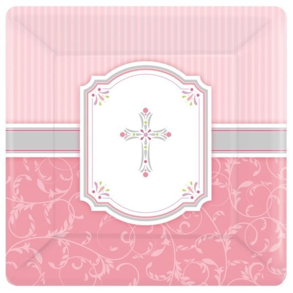 Amscan Square Plates - Communion Blessing Pink