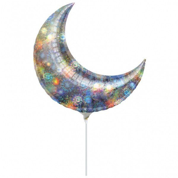 Anagram 17 Inch Crescent Foil Balloon - Holo Fireworks