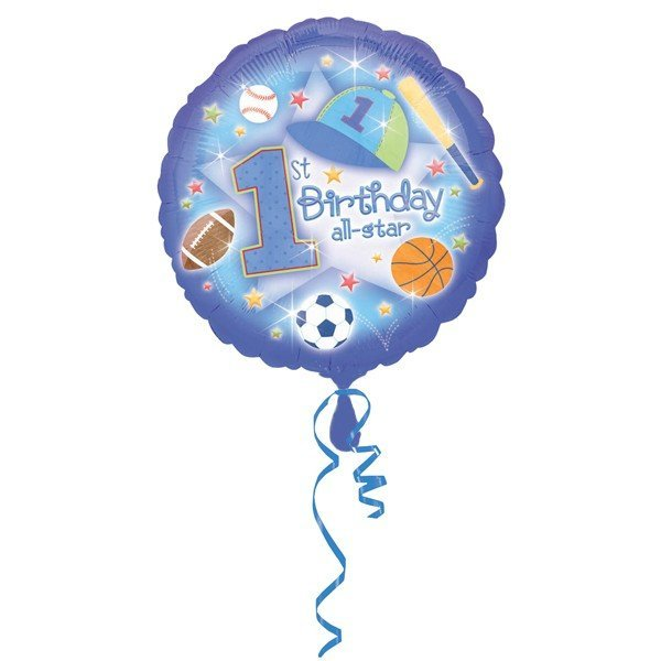 Anagram 18 Inch Circle Foil Balloon - 1st Birthday All Star