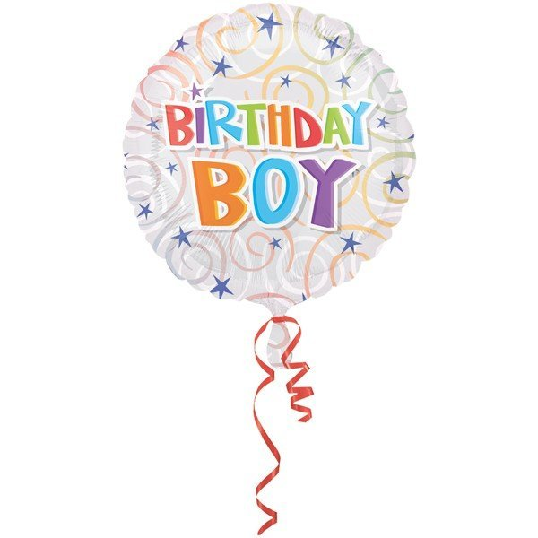 Anagram 18 Inch Circle Foil Balloon - Birthday Boy Swirls