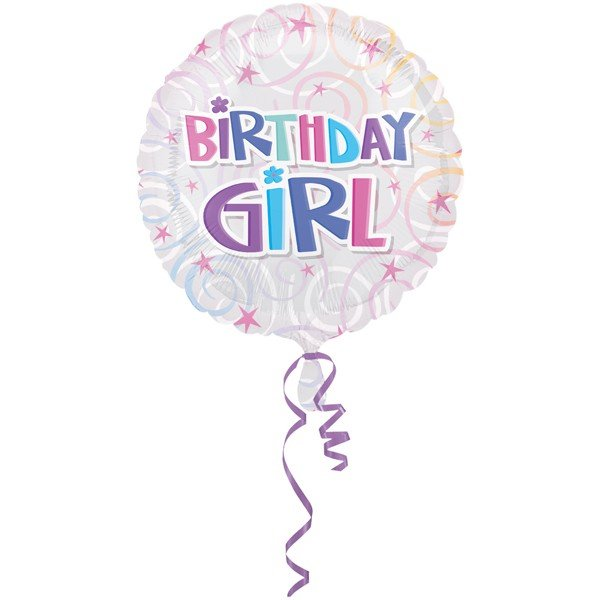Anagram 18 Inch Circle Foil Balloon - Birthday Girl Swirls