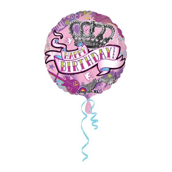 Anagram 18 Inch Circle Foil Balloon - Birthday Tattoo