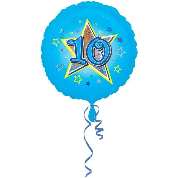 Anagram 18 Inch Circle Foil Balloon - Blue Stars 10 Holo