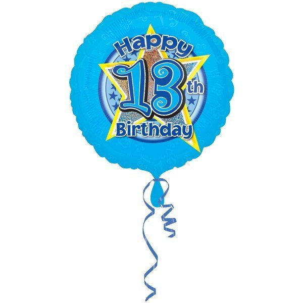 Anagram 18 Inch Circle Foil Balloon - Blue Stars 13 Holo