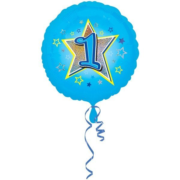 Anagram 18 Inch Circle Foil Balloon - Blue Stars 1 Holo