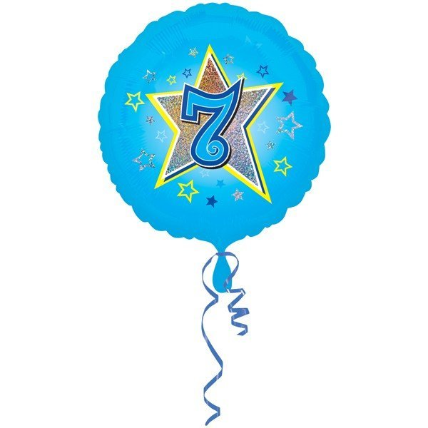 Anagram 18 Inch Circle Foil Balloon - Blue Stars 7 Holo