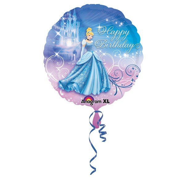 Anagram 18 Inch Circle Foil Balloon - Cinderella Happy Birthday