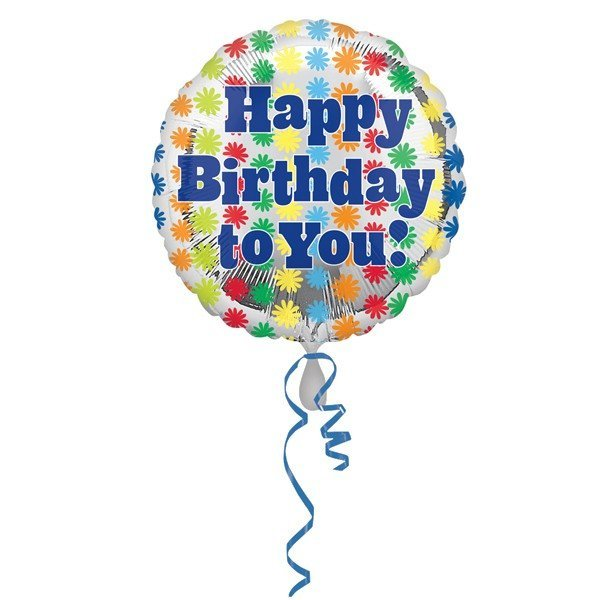 Anagram 18 Inch Circle Foil Balloon - Funky Flowers Birthday