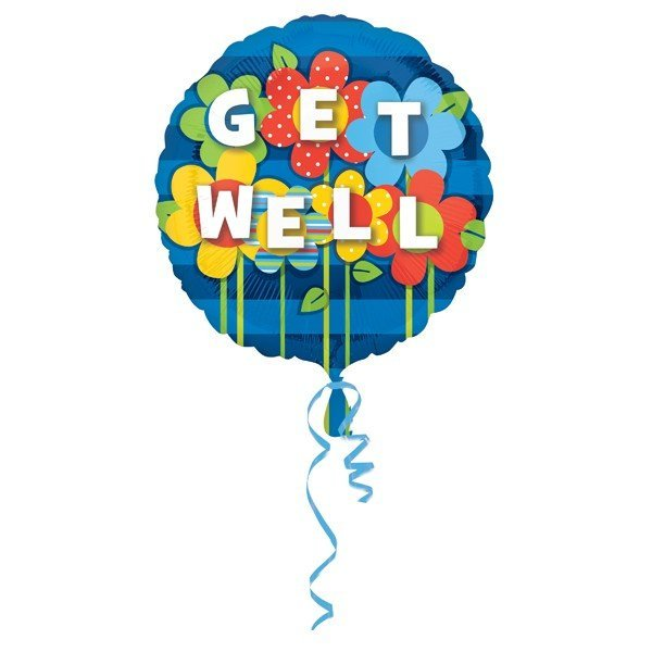 Anagram 18 Inch Circle Foil Balloon - Get Well Garden