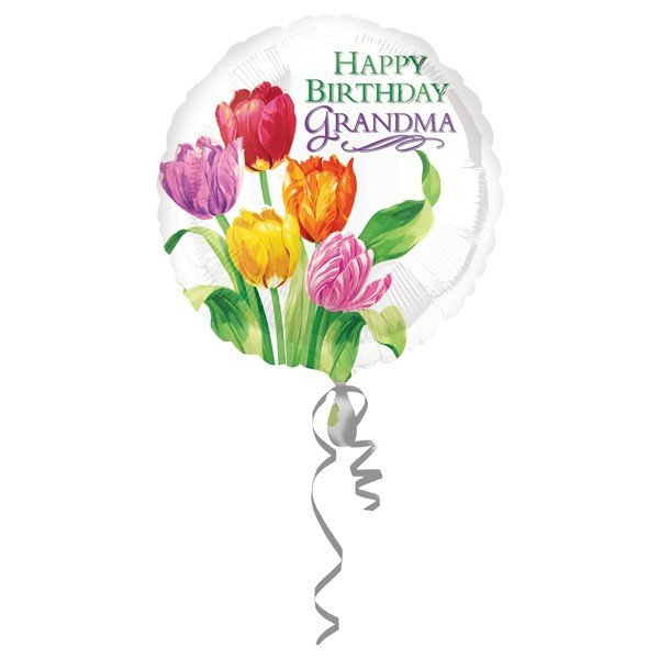 Anagram 18 Inch Circle Foil Balloon - Grandma Tulip Birthday