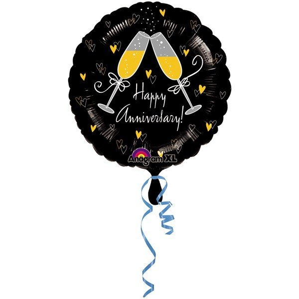 Anagram 18 Inch Circle Foil Balloon - Happy Anniversary