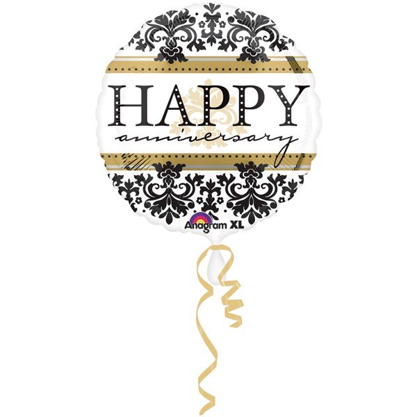 Anagram 18 Inch Circle Foil Balloon - Happy Anniversary Damask