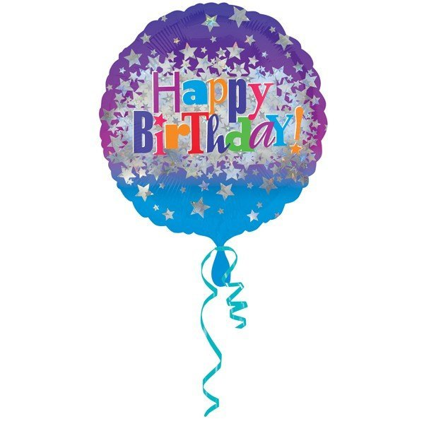 Anagram 18 Inch Circle Foil Balloon - Happy Birthday Bright Stars