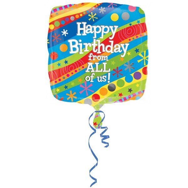 Anagram 18 Inch Circle Foil Balloon - Happy Birthday From All Of Us
