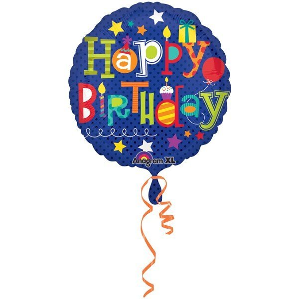 Anagram 18 Inch Circle Foil Balloon - Happy Birthday Fun Type