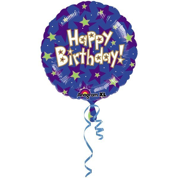 Anagram 18 Inch Circle Foil Balloon - Happy Birthday Stars