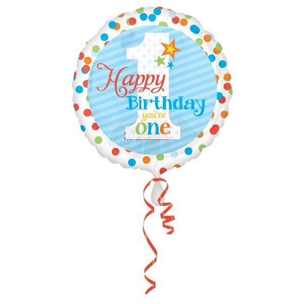 Anagram 18 Inch Circle Foil Balloon - Happy Birthday Youre One Boy