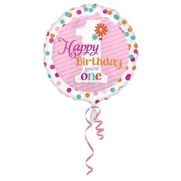 Anagram 18 Inch Circle Foil Balloon - Happy Birthday Youre One Girl