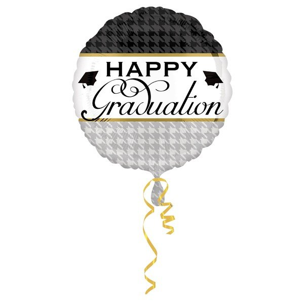 Anagram 18 Inch Circle Foil Balloon - Houndstooth Elegant Graduate