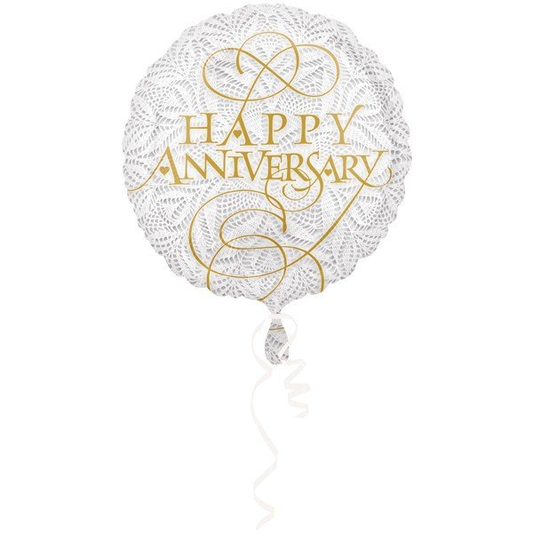 Anagram 18 Inch Circle Foil Balloon - Lacey Happy Anniversary