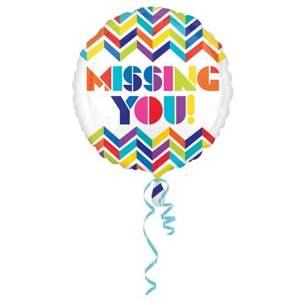 Anagram 18 Inch Circle Foil Balloon - Multi Chevron Missing You