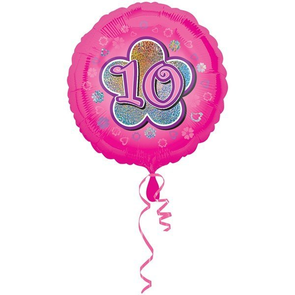 Anagram 18 Inch Circle Foil Balloon - Pink Flowers 10 Holo
