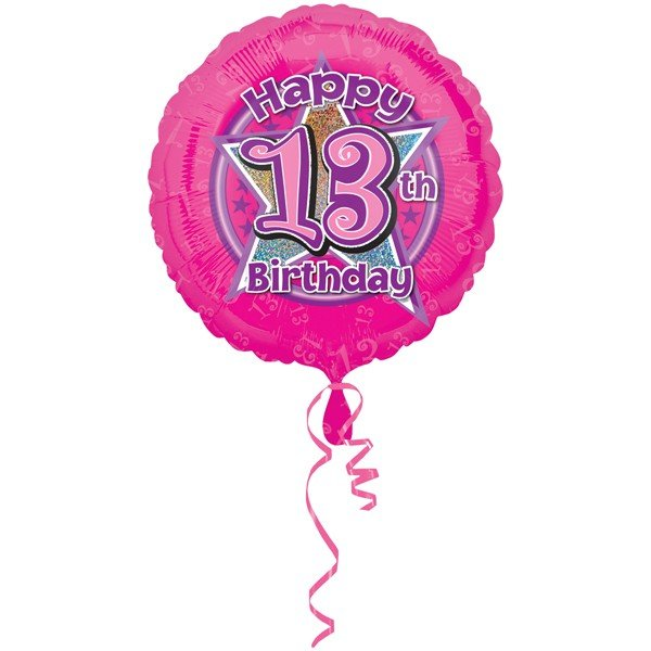 Anagram 18 Inch Circle Foil Balloon - Pink Flowers 13 Holo