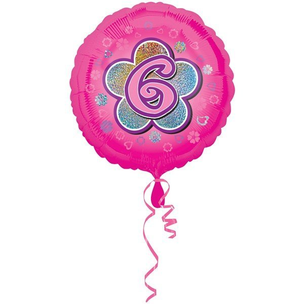 Anagram 18 Inch Circle Foil Balloon - Pink Flowers 6 Holo