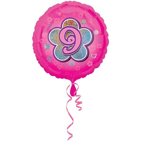 Anagram 18 Inch Circle Foil Balloon - Pink Flowers 9 Holo