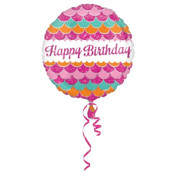 Anagram 18 Inch Circle Foil Balloon - Pink Sparkle Happy Birthday
