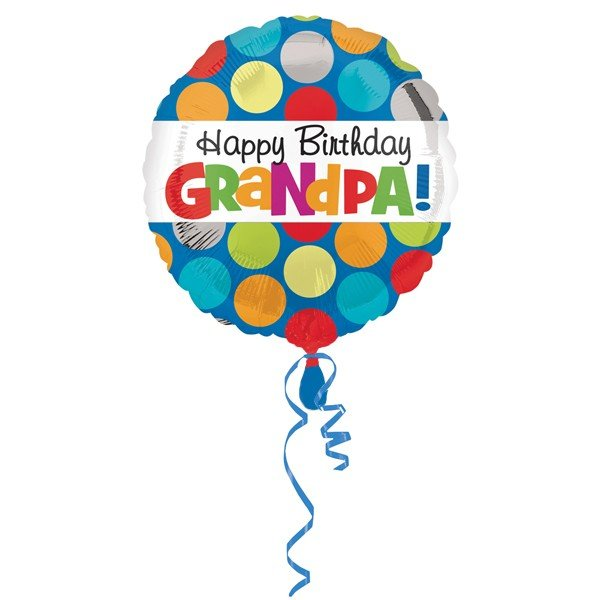Anagram 18 Inch Circle Foil Balloon - Polka Grandpa Birthday